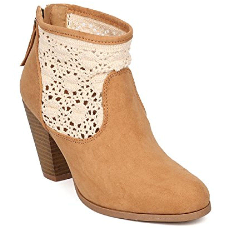 Women Faux Suede Crochet Bootie - Dressy Versatile Girls Night - Chunky Heel Bootie - GE16 by
