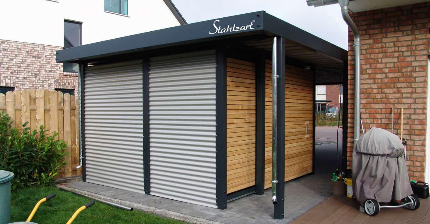 Einzel Carport Metall Stahl Mit Abstellraum Holz Modern Stahlzart Carport Metall Carport Stahlcarport