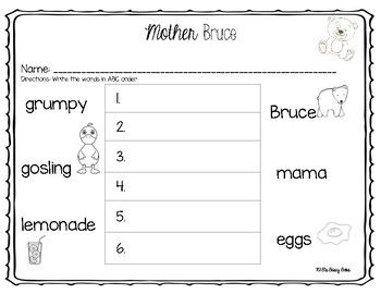 Mother Bruce Book Companion Worksheets Abc Order Abc Order