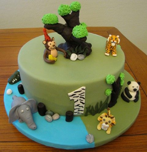Jungle Theme Birthday Cake Idea Twins Birthday Party