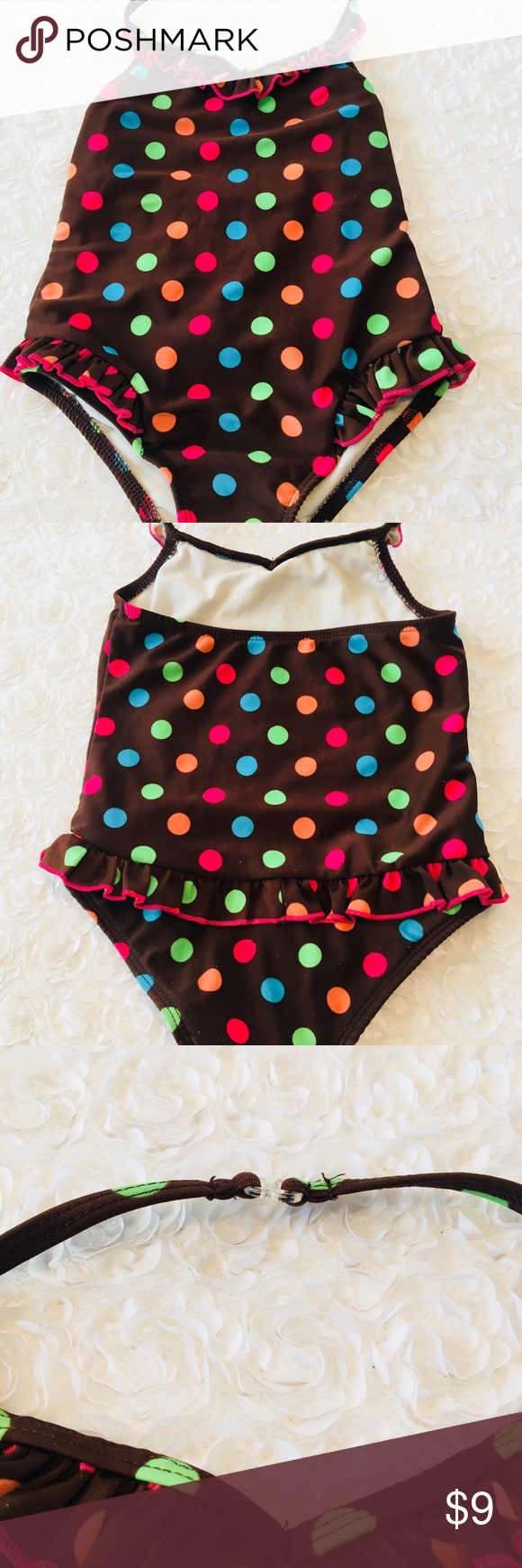 3b82763209c67 Little girls swimsuit Brown w/polka dots swimsuit excellent condition Circo  Swim One Piece