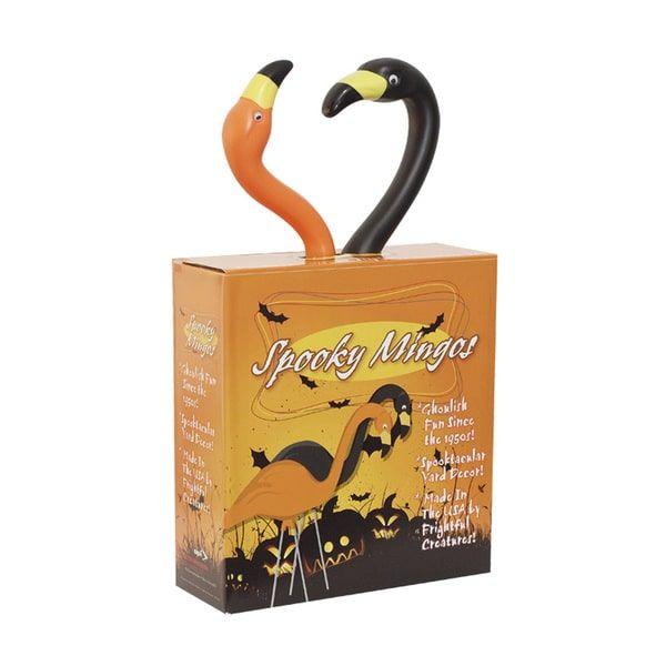 bloem spooky orange and black flamingo halloween garden decor 12 pack - Orange Garden Decor