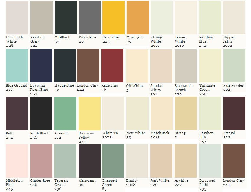 Farrow And Ball Colour Names Chart Google Search Painting On Wood Spray