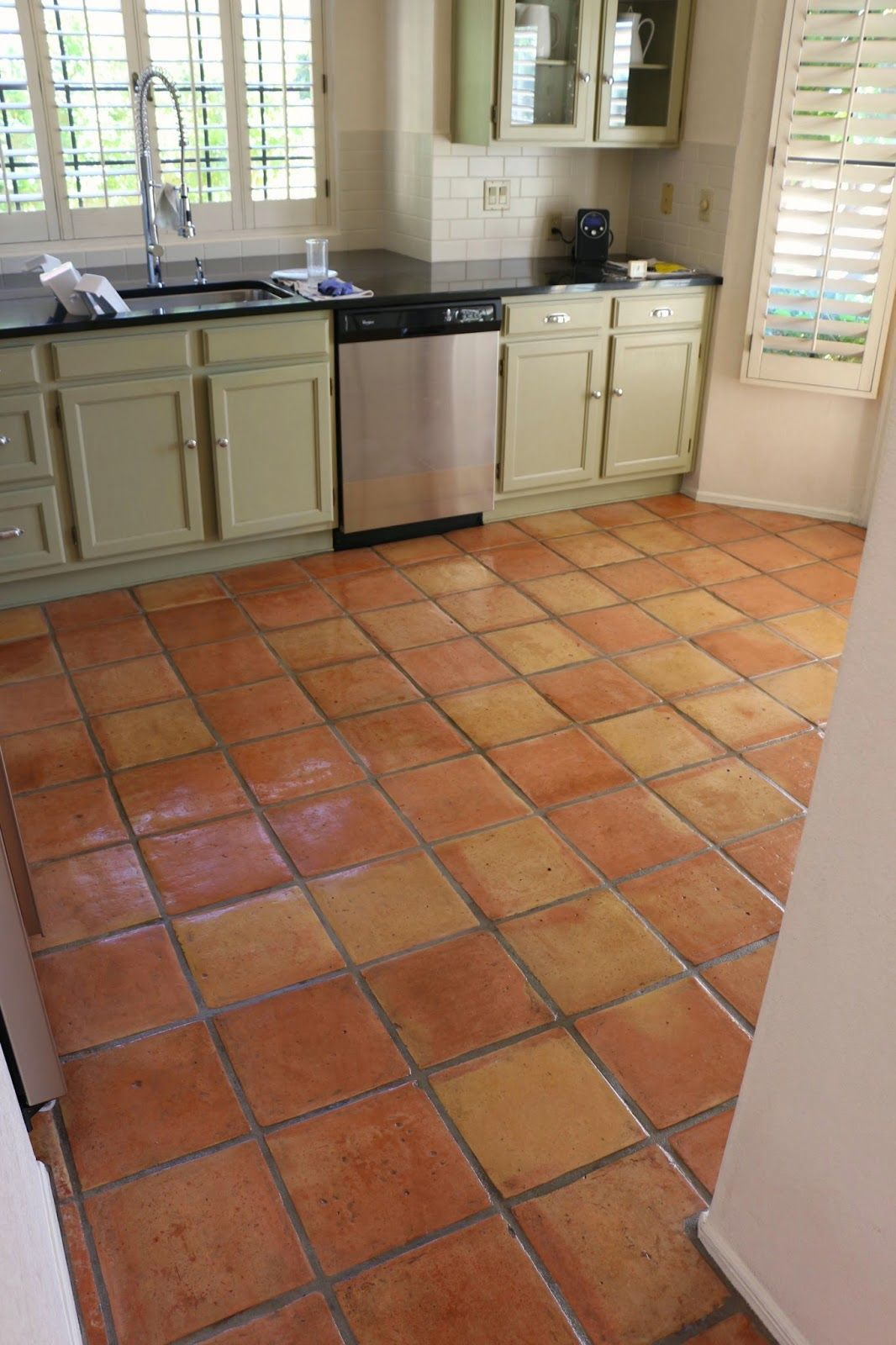 Dusty coyote stripping and sealing a saltillo tile floor for Kitchen floor tile ideas
