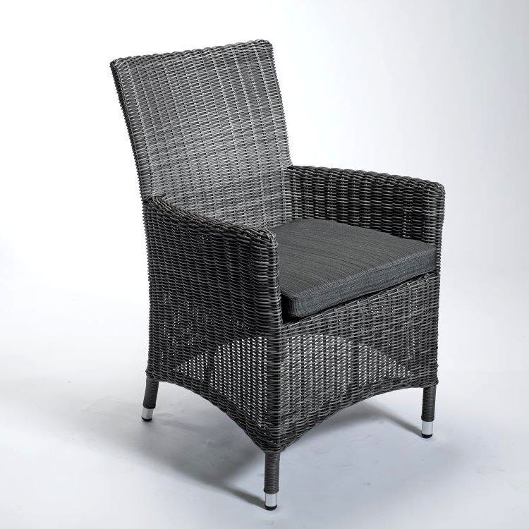 Destiny Sessel SANTOS Gartensessel Polyrattan Grau Geflechtsessel - gartenmobel polyrattan grau