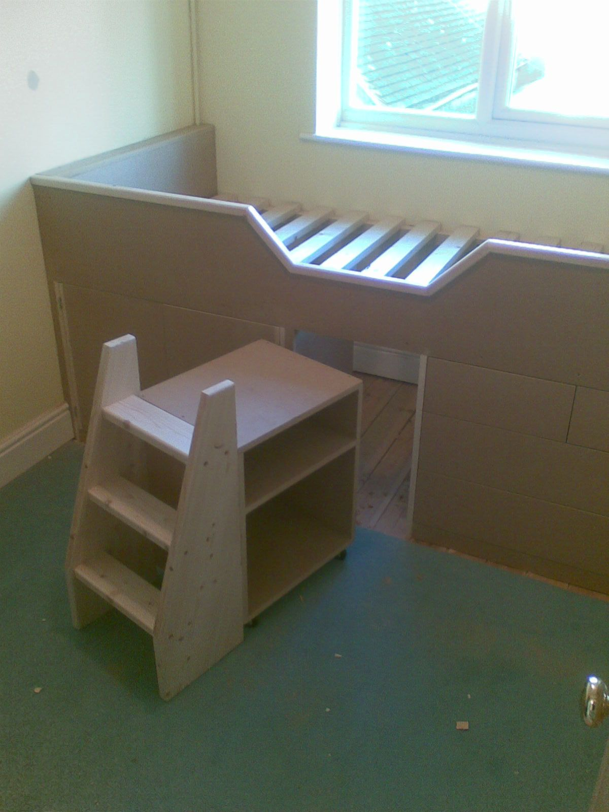Small Box Room Cabin Bed For Grandma: The Small Bookcase And Ladder On Castors