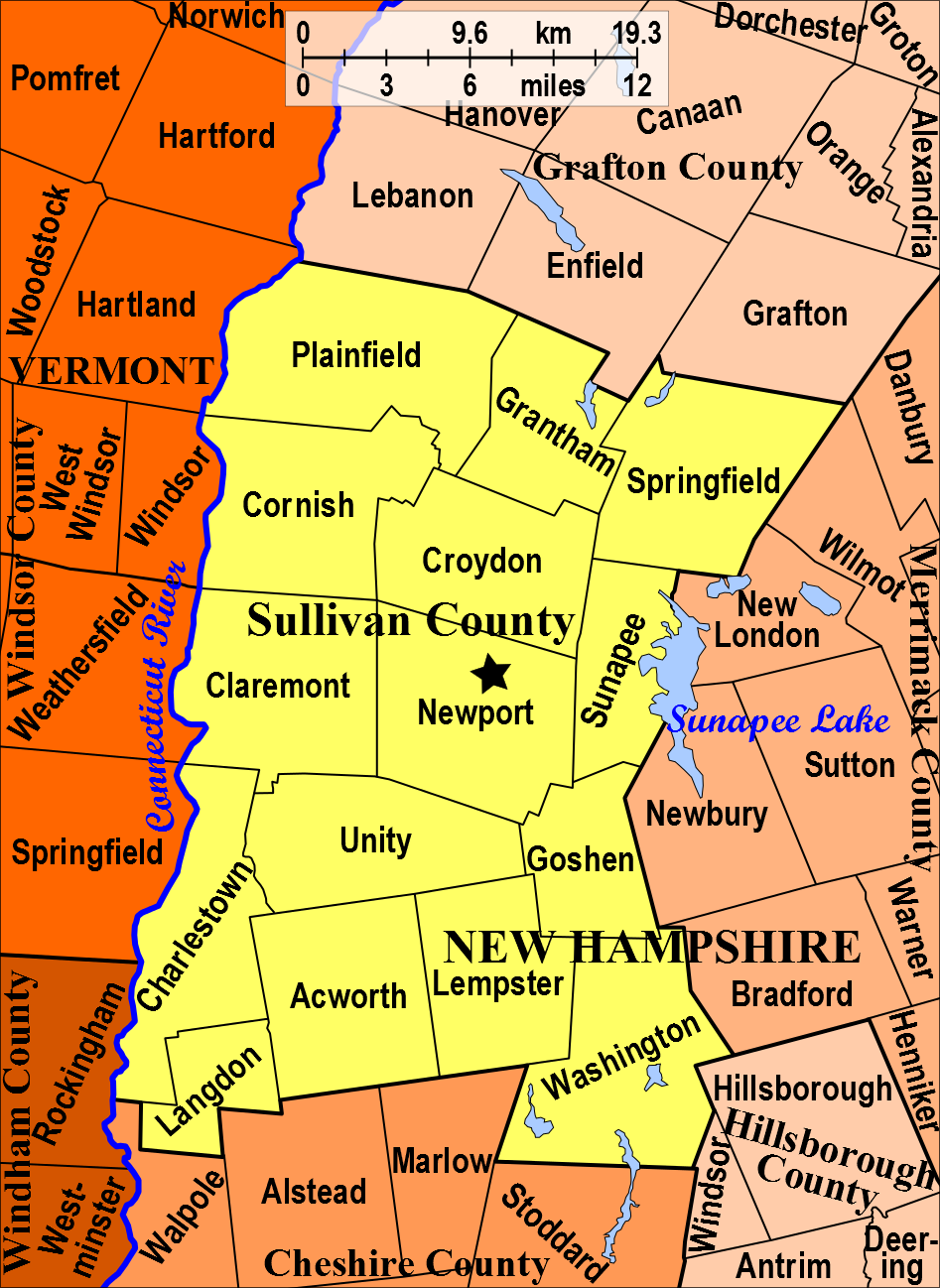 Sullivan County NH Sullivan Pinterest Hampshire - New hampshire cities and towns map