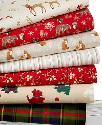 Martha Stewart Collection Novelty Print Flannel Sheet Sets Woodland Creatures Perfect Pla Christmas Flannel Sheets Christmas Sheets Martha Stewart Christmas