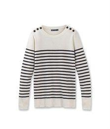 Women's striped sailor jumper Lait white / Abysse blue - Petit Bateau
