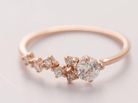 4mm Moissanite cluster engagement ring Unique diamond Cluster | Etsy