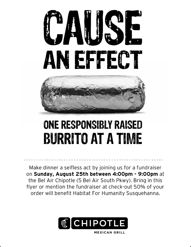 photo relating to Chipotle Printable Coupon identify Be part of us this Sunday, August 25 at the Chipotle inside of Bel Air