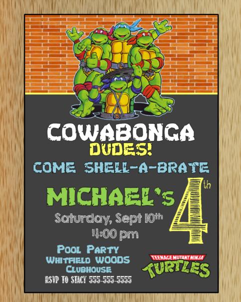Teenage Mutant Ninja Turtles Birthday Invitation In 2019 Macanne