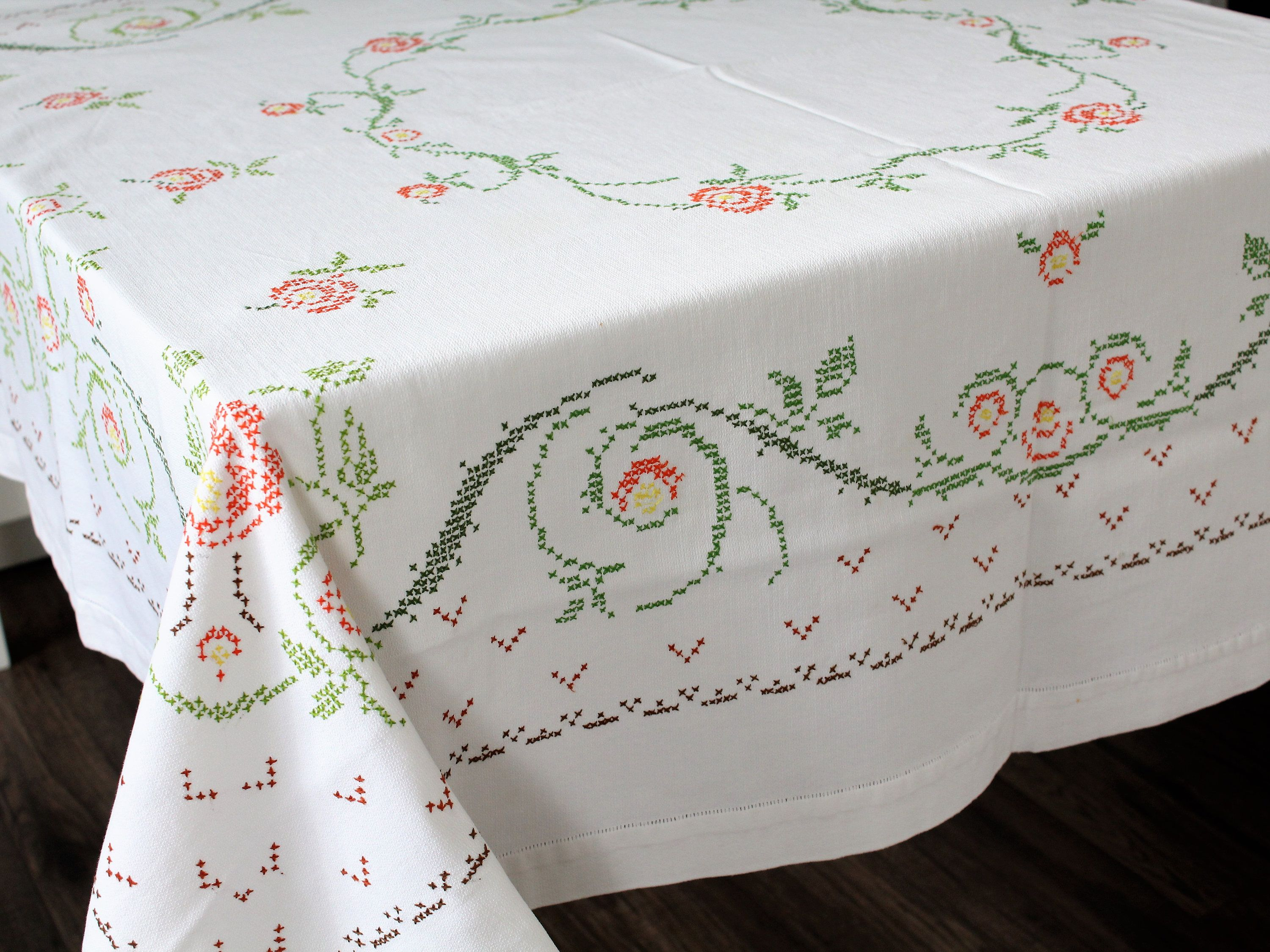 Vintage Tablecloth Hand Embroidered Mid Century Small