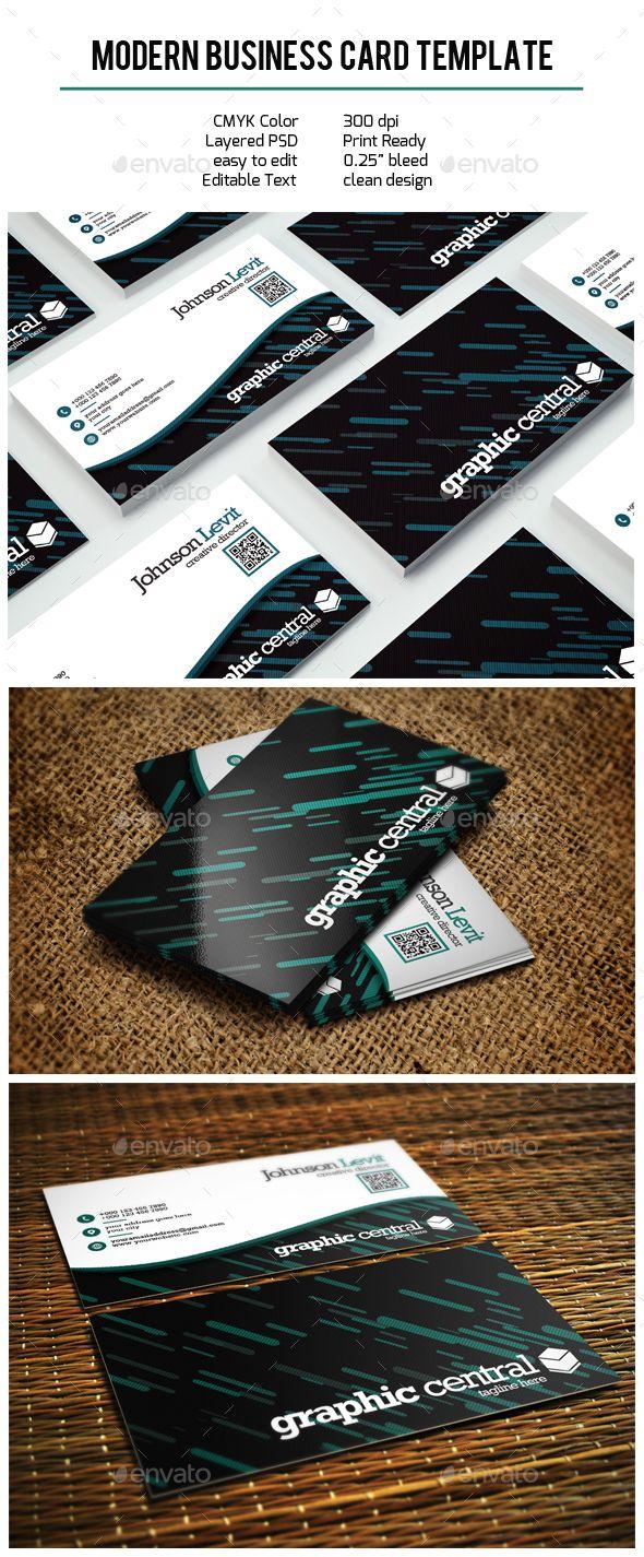 Modern Business Card Template PSD Business Card Templates - Psd business card template with bleed