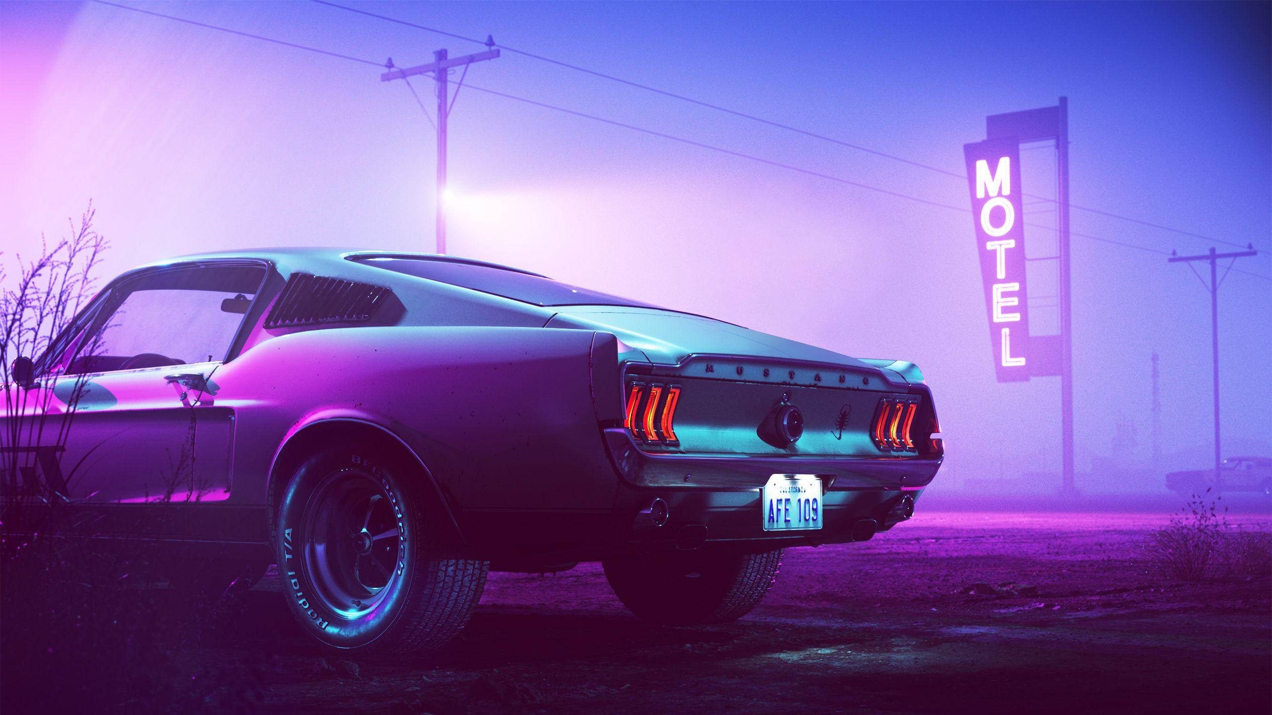 Neon Mustang Neon Car Mustang Fastback Retro Waves