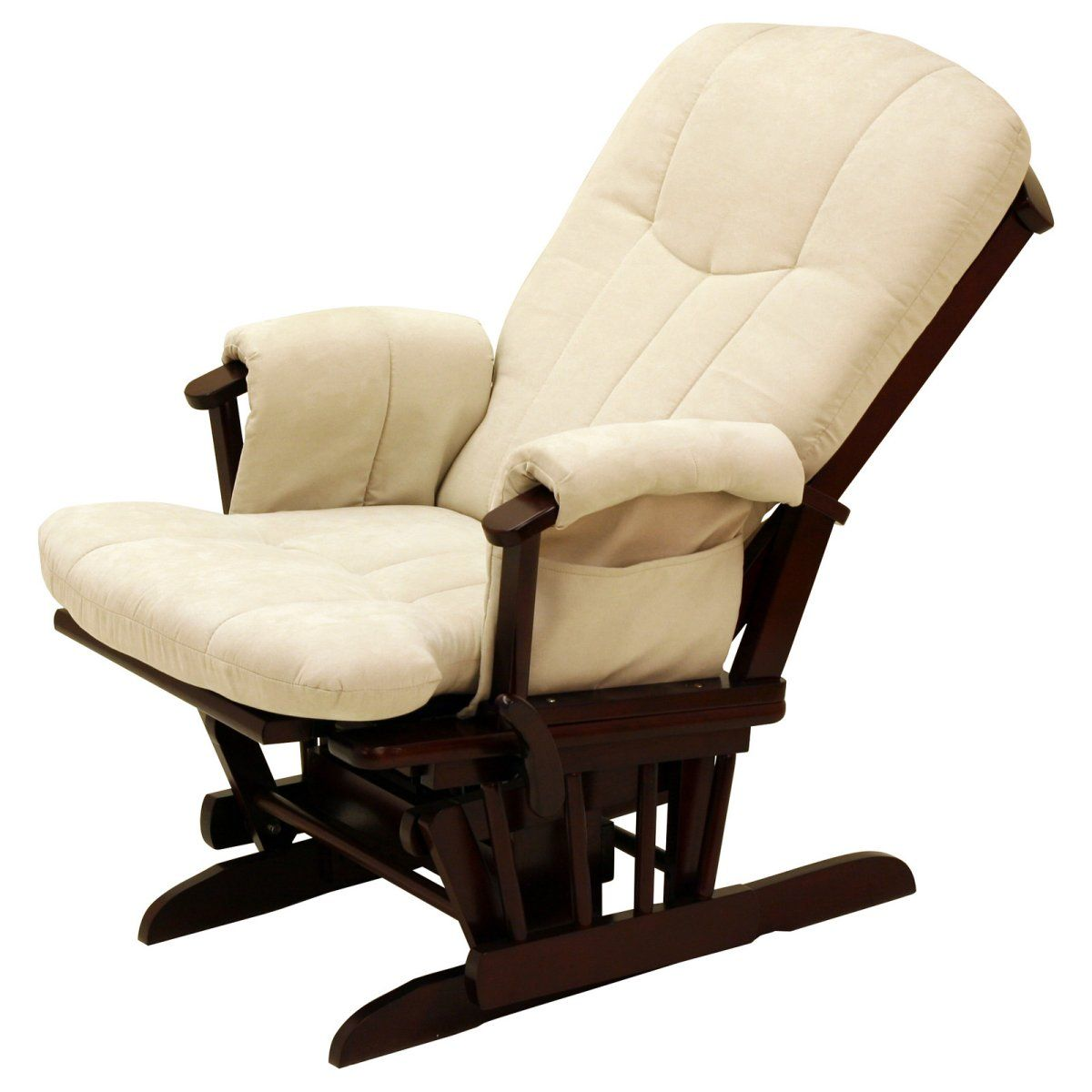 Storkcraft Deluxe Reclining Glider Rocker Cherry Beige Indoor Rocking Chairs At