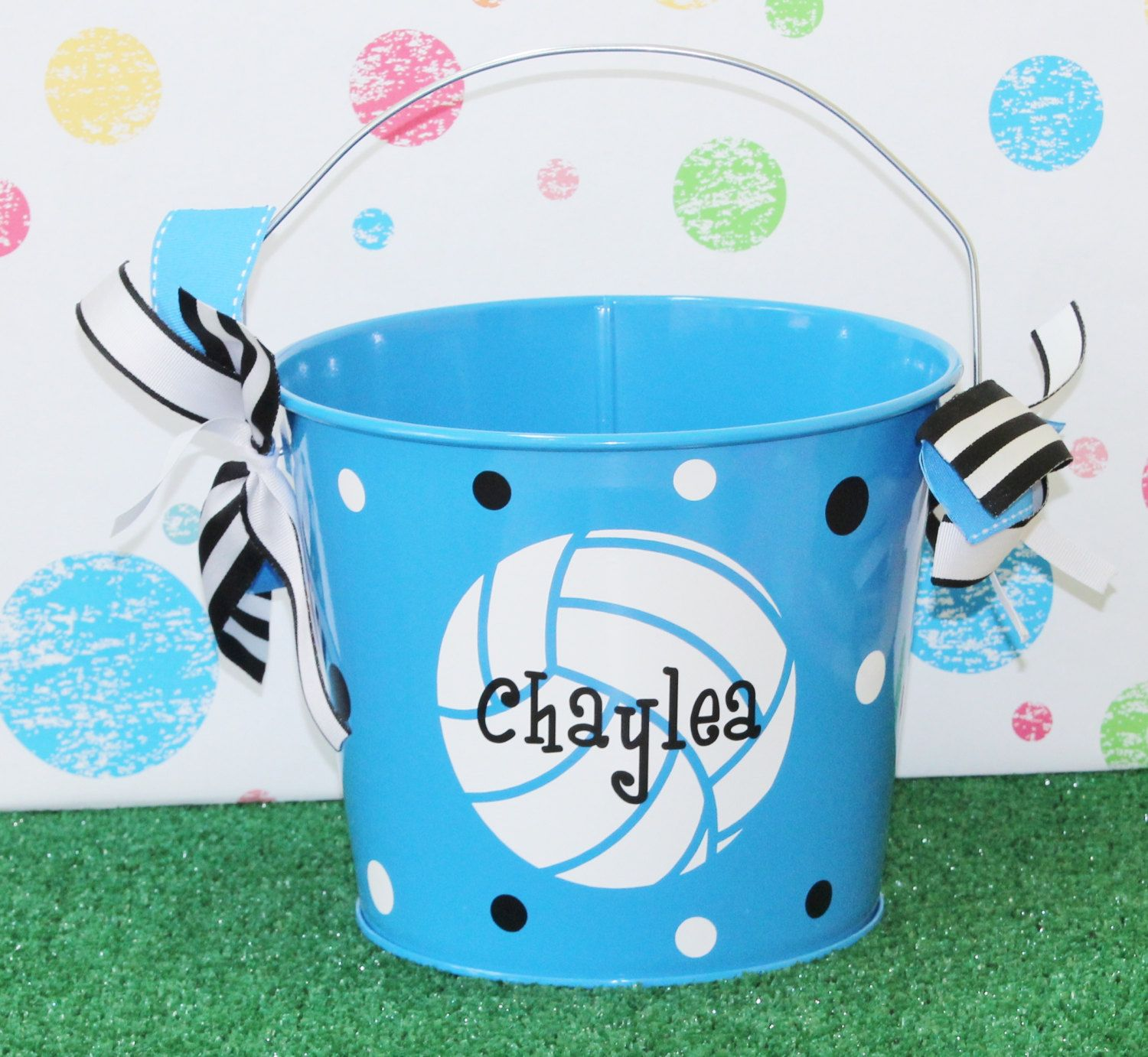 Personalized volleyball easter basket pail monogram easter basket personalized volleyball easter basket pail monogram easter basket metal easter bunny basket pail sports theme easter negle Choice Image