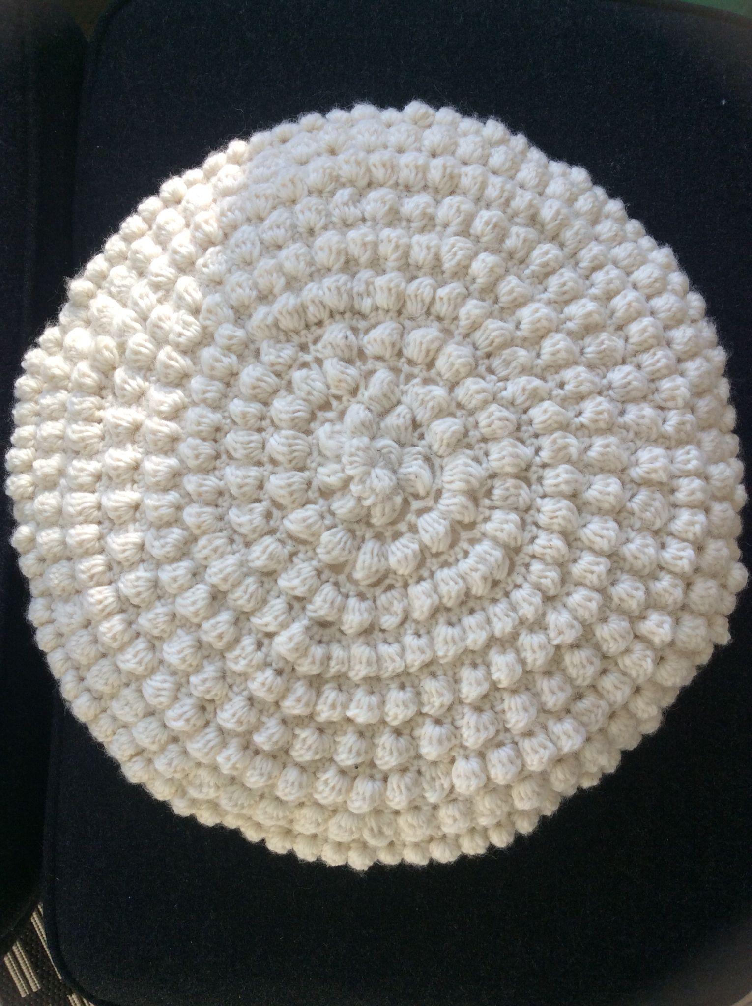 Rund Hæklet Pude Brombærmønster Round Pillow Crochet Bobles