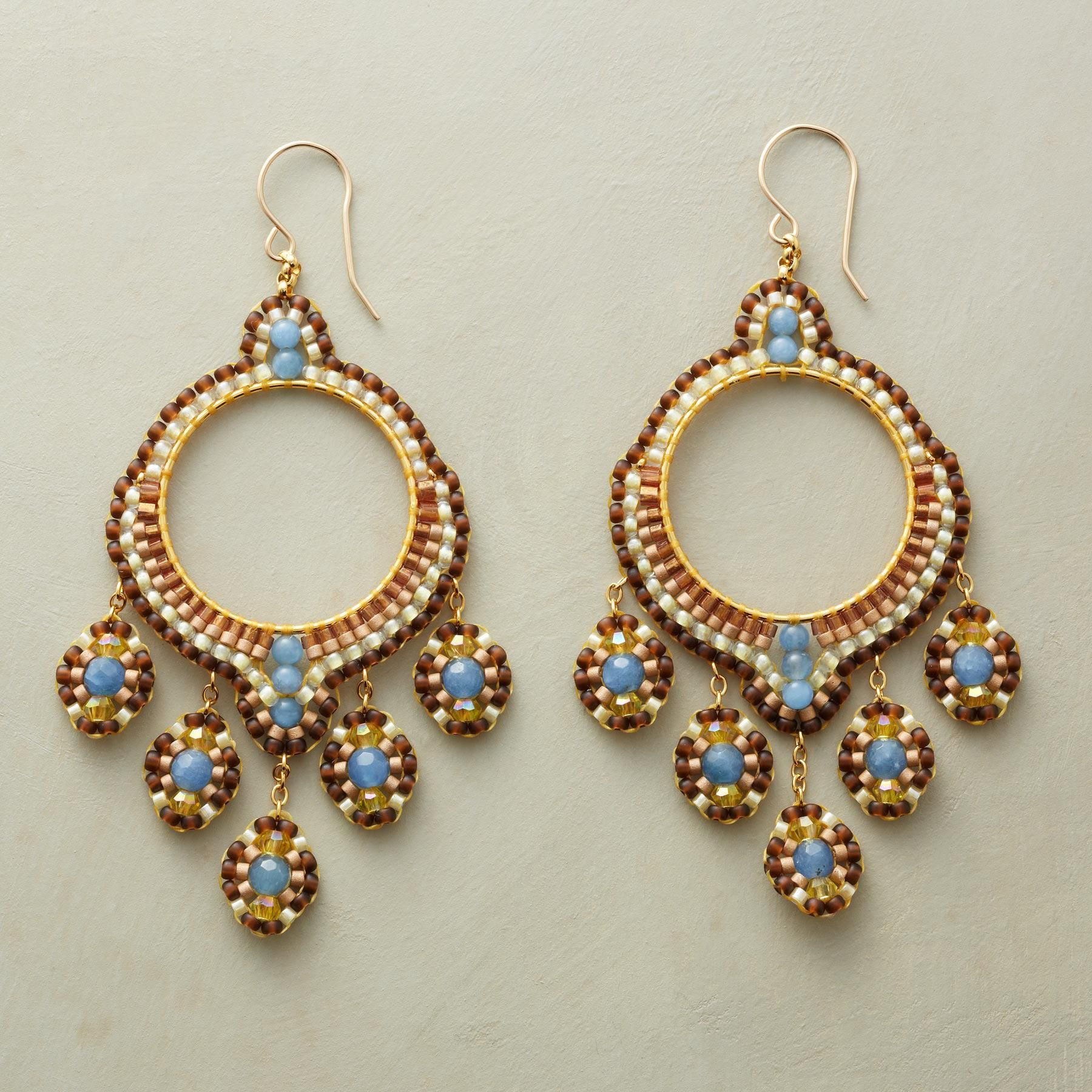 """CYMBALINE HOOPS -- A tapestry of gems is handworked in blue quartz, citrine and and tiny Japanese miyuki beads into voluptuous hoops on 14kt goldfilled earwires. Handcrafted in USA by Miguel Ases. 3-1/4""""L."""