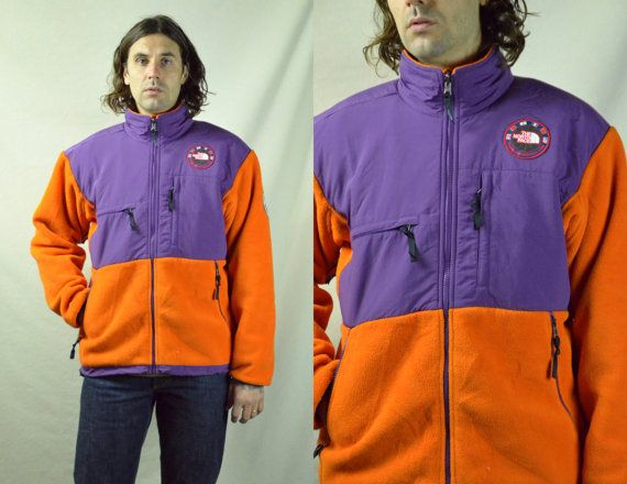 e124f6c9e3c0 Vintage 1990 Trans - Antarctica North Face Purple and Orange Denali Fleece  Jacket