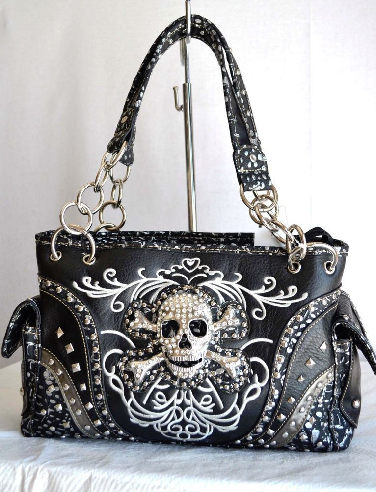 Black Silver Embroidery Skull Head Concho Rhinestone Purse Bag Gun Carry Studs In Clothing Shoes