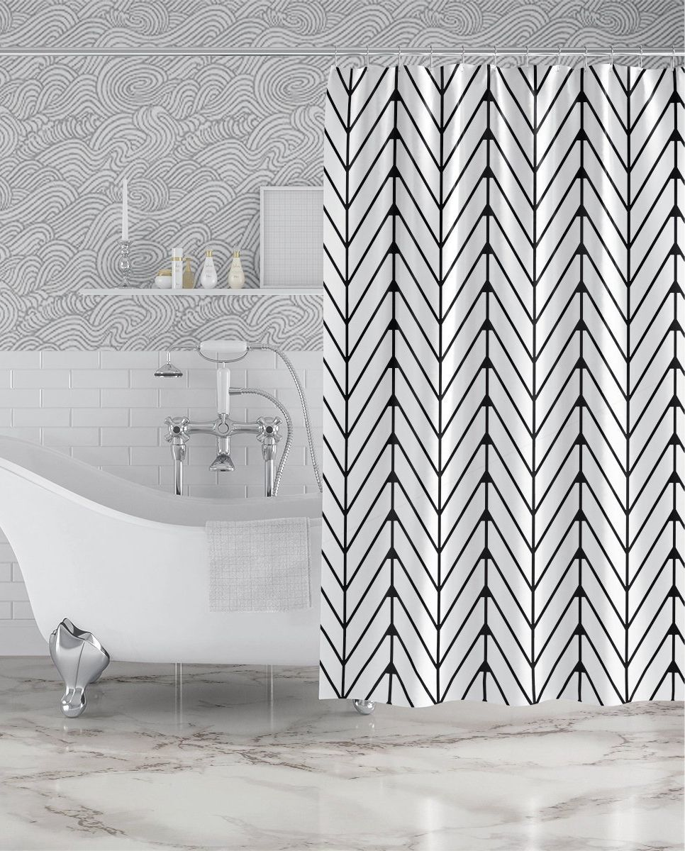 Keep It Classy With Our Modern Black And White Herringbone Shower