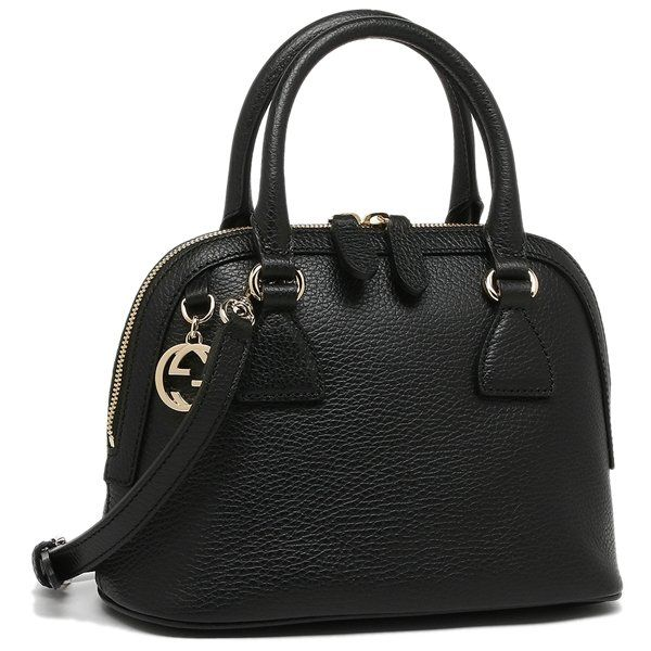63825bd0 Gucci Black Leather 2-Way Convertible GG Charm Small Dome Purse | My ...