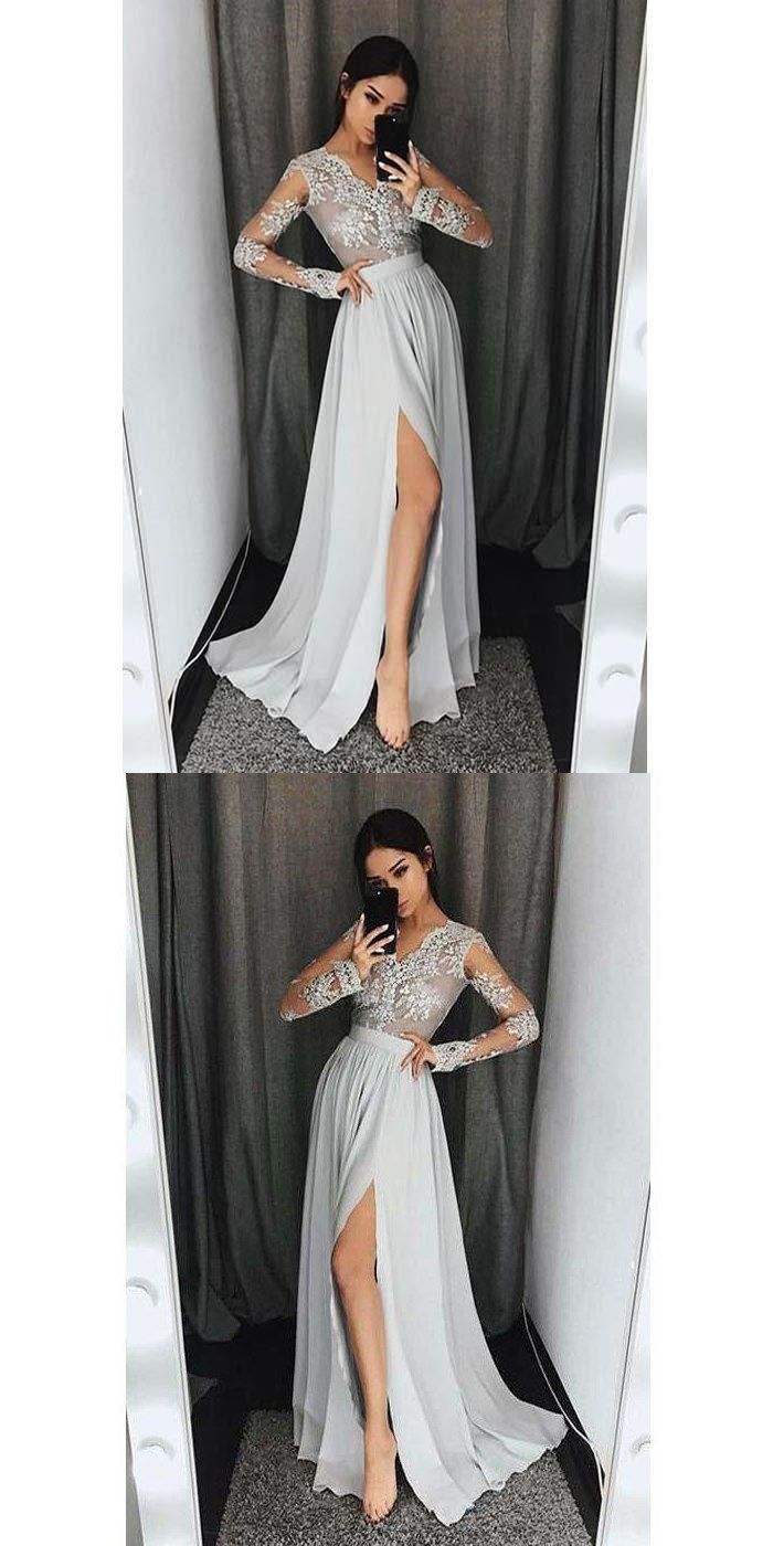 Long sleeves v neck side split sexy silver long prom dresses lace