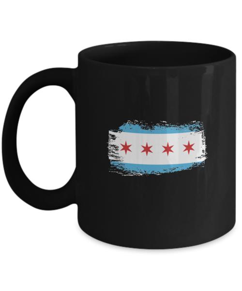 Shirt White Chicago Vintage Flag Theme Skyline Coffee Mug 11oz Black
