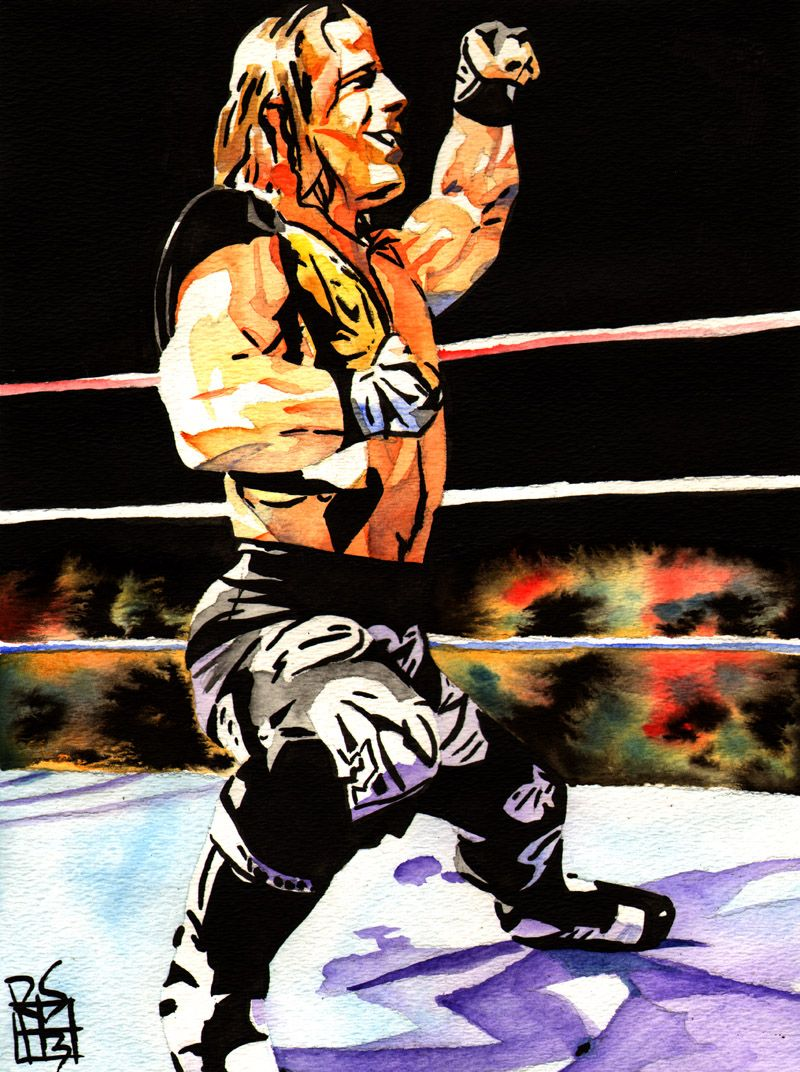 """Shawn Michaels - Ink and watercolor on 9"""" x 12"""" watercolor paper"""