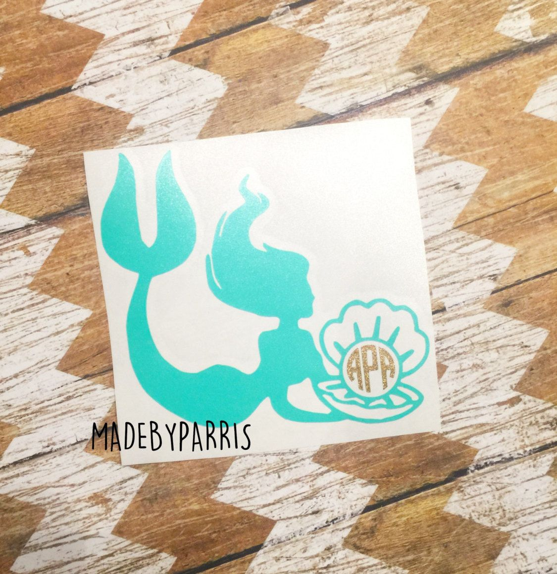 Mermaid With Shell Monogram Vinyl Decal Monogram Decal Mermaid - Mermaid custom vinyl decals for car