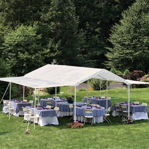 "ShelterLogic 10x20 1-3/8"" 8-Leg Canopy with Extension Kit (White) (677599235306) Heavy Duty 1-3/8-inch diameter steel, 8 leg white frame that is  DuPont premium powder coated finish prevents chipping, peeling, rust and corrosion Triple layer 100 percent waterproof UV woven polyethylene fabric, hat welded not stitched, UV treated inside and outside with added fade blockers Patented twist tite tensioning squares up frames and tightens down cover for a clean and finished look Wide foot plates…"
