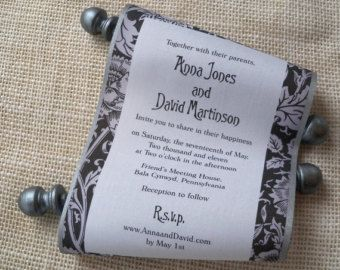 Rustic Wedding Invitation Black and White Invitation Scroll