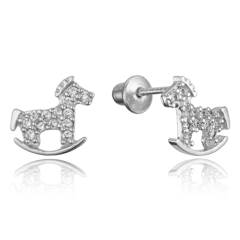 Sterling Silver Rhodium Plated Horse Children Back Baby S Earrings Http