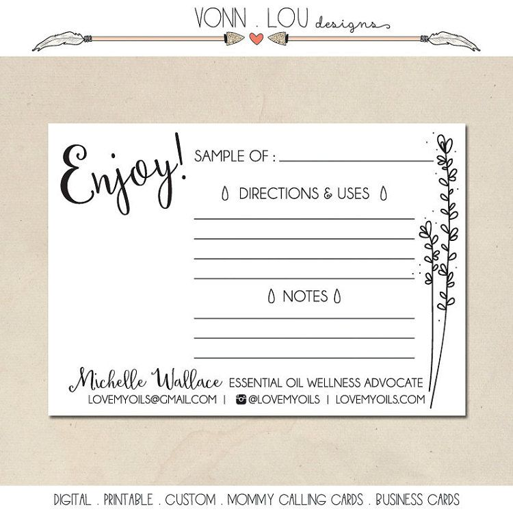 printable essential oil sample cards - hand illustrated design - sample cards