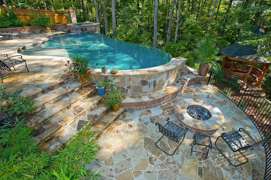 42 Awesome Natural Small Pools Design Ideas Best For Private Backyard Trendehouse Sloped Backyard Small Pool Design Backyard Pool