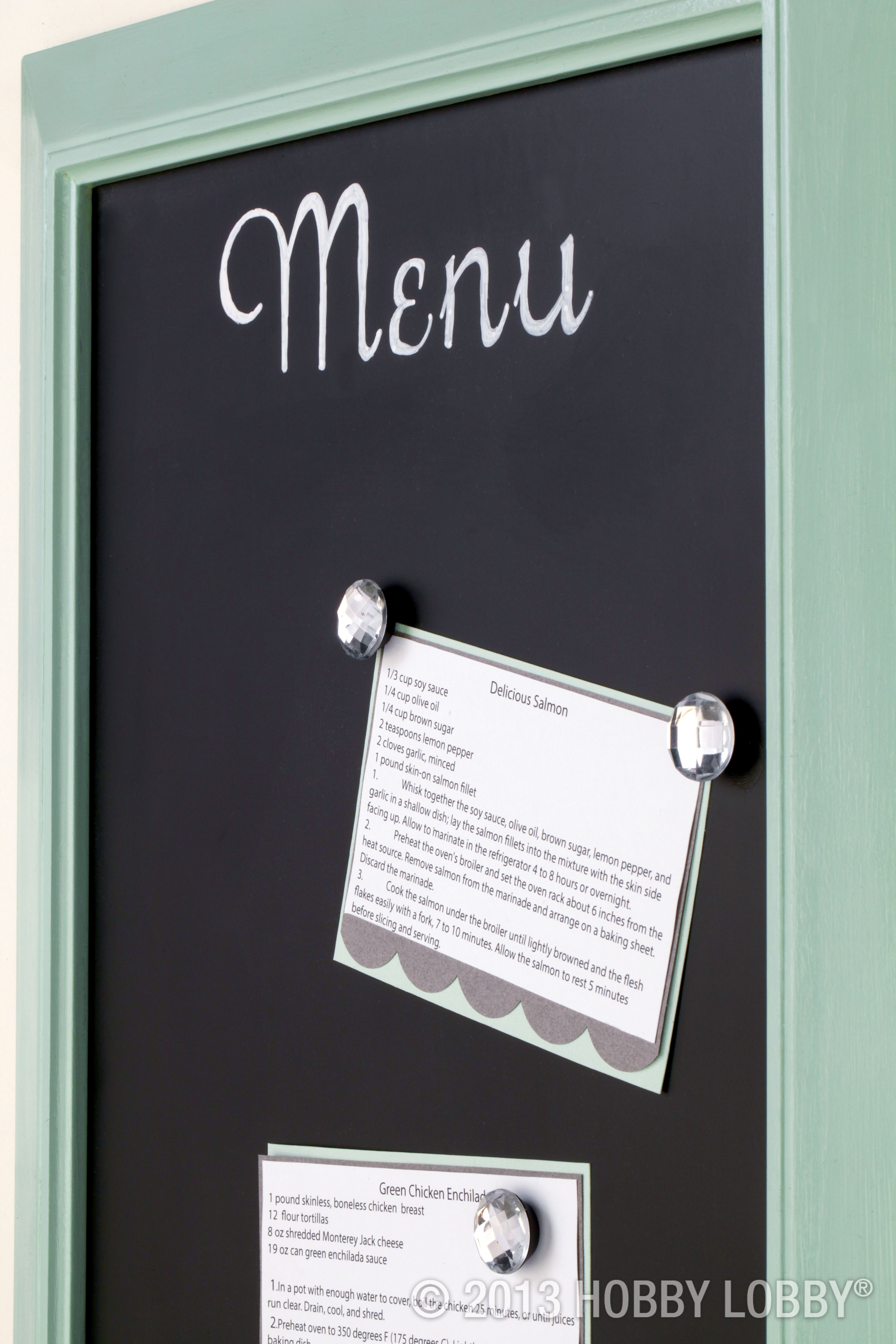 We Used A Large Frame As The Base Of This Made To Order Menu Board We Simply Removed The Glass Painted The Magnetic Tin With Chalkboard Paint And Puzzle Crafts