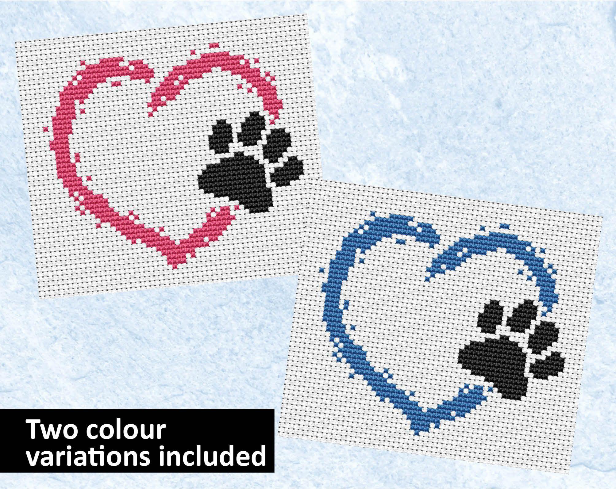 Pet heart cross stitch pattern, dog cross stitch, cat