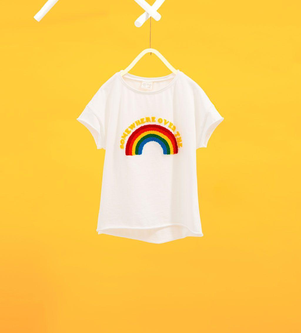 d16dc80497 Image 1 de T-shirt arc-en-ciel en velours bouclé de Zara | minilook ...