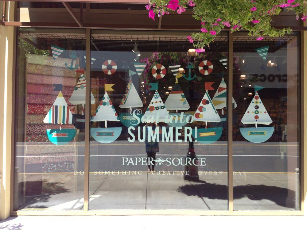 Sail into summer nautical themed window display retail for Retail shop display ideas