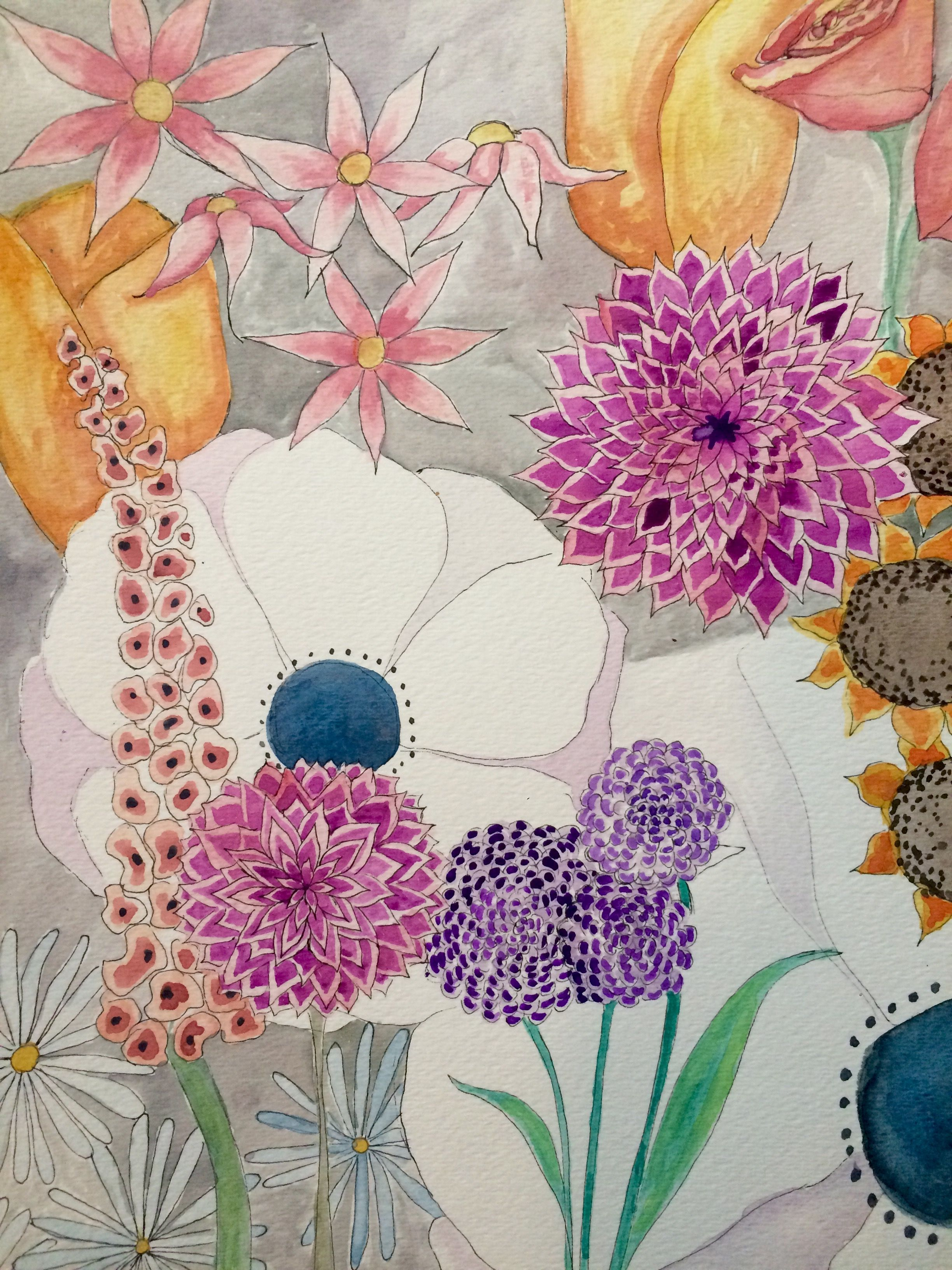 Flower Garden 3 9x12in Watercolor Painting On Watercolor Paper