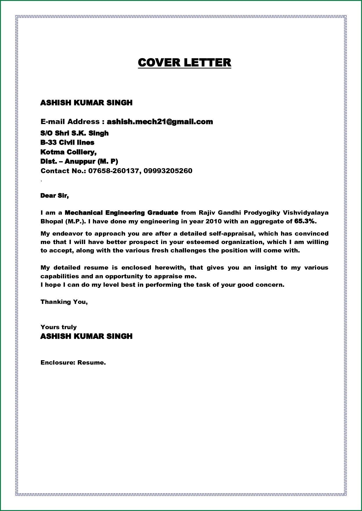 Cover Letter Fresh Graduate Electrical Engineer