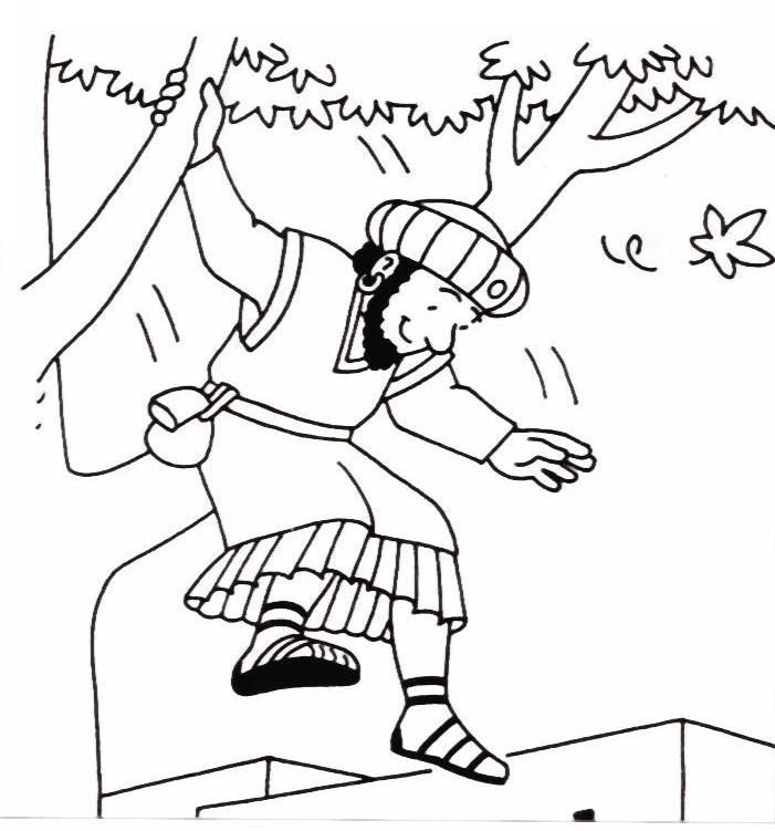 Simple Zacchaeus in the tree coloring page for younger children