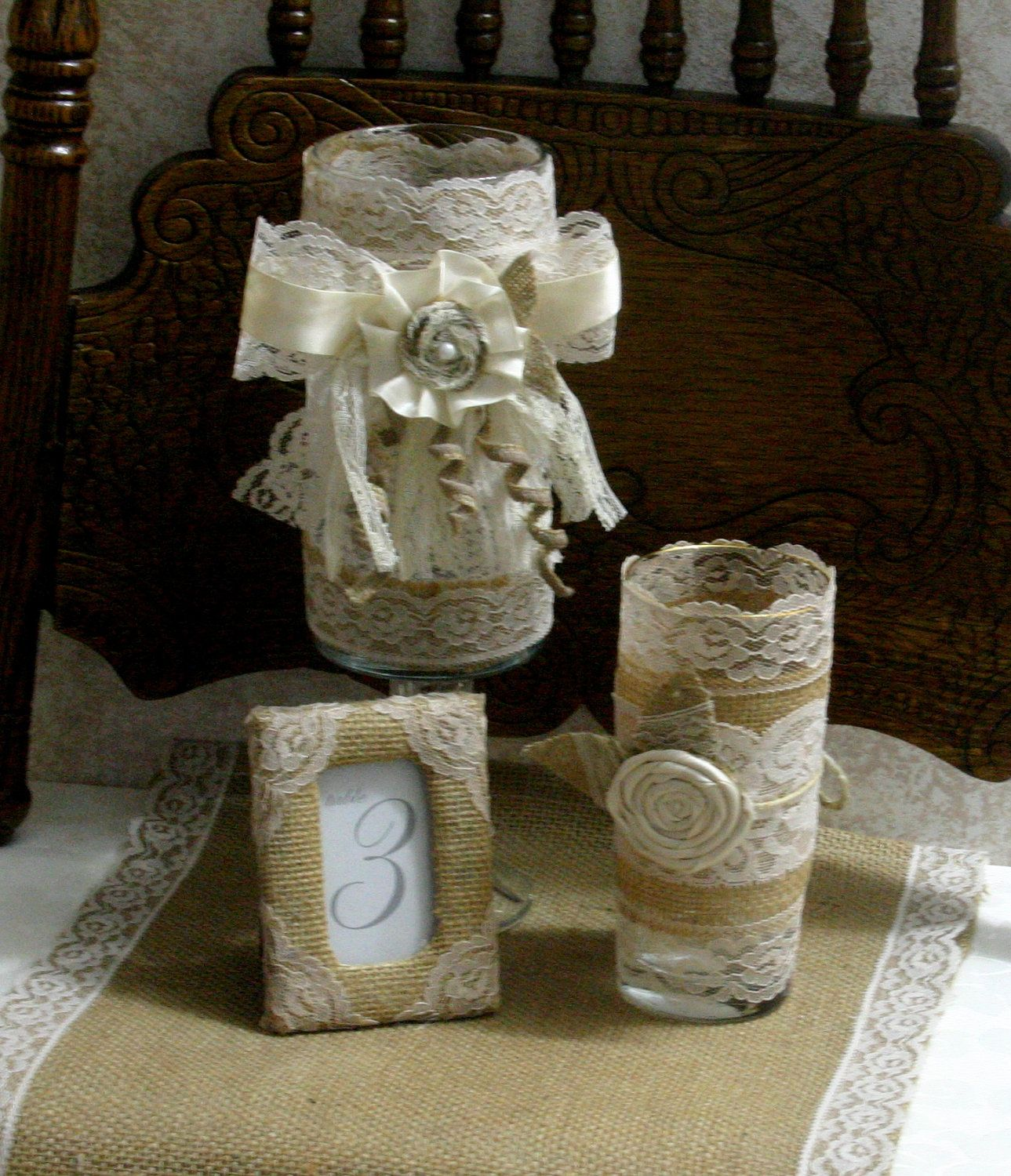 Burlap wedding table decorations burlap table number frame rustic elegance country chic - French country table centerpieces ...