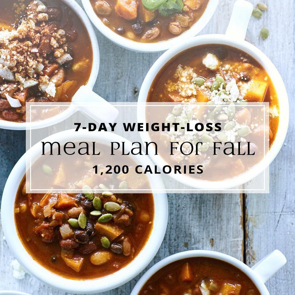 7-Day Weight-Loss Meal Plan for Fall: 1,200 Calories #300caloriemeals Enjoy the comforting dishes of fall & lose weight with this healthy 1,200-calorie meal plan. Delicious fall favorites like warming soups & roasted root vegetables are made to be lower in calories to help you lose a healthy 1-2 pounds per week. #300caloriemeals
