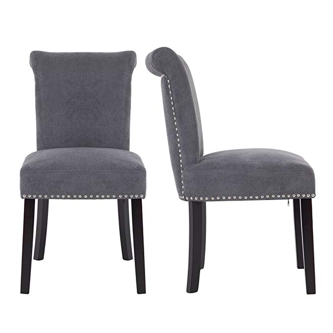 Amazon Com Lsspaid Upholstered Fabric Dining Room Chairs With Polished Nailhead Wood Le Grey Upholstered Dining Chairs Fabric Dining Room Chairs Dining Chairs