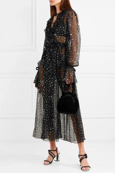 Ruffled Sequined Chiffon Wrap Dress - Black Ashish 0VrIwJYz