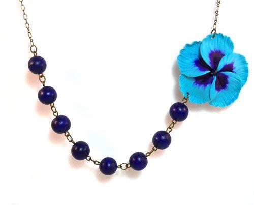 Asymmetrical Flower Necklace : Large Blue Hibiscus Necklace