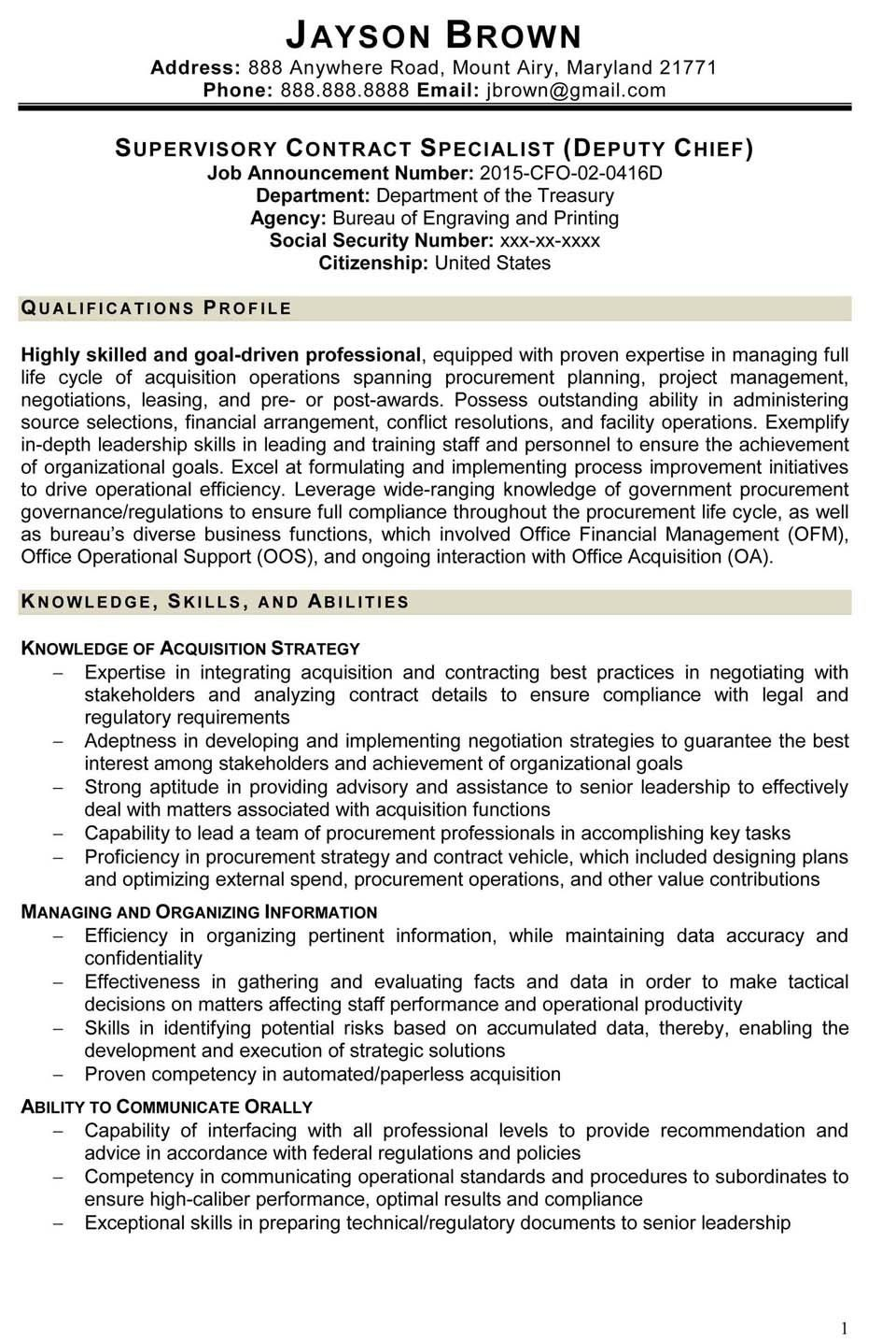 Federal Job Resume Template 3 Great Federal Job Resume