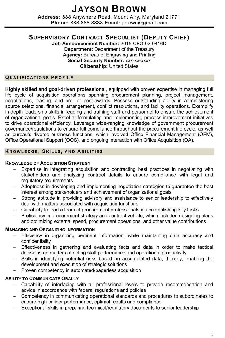 Federal Job Resume Template 3 Great Federal Job Resume